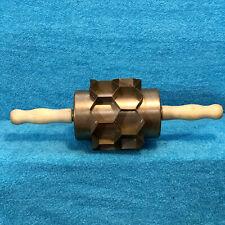 """Moline 16"""" Hand Roller Junior Hex Biscuit Dough Cutter 18 2"""" Hexagonal Cavities"""