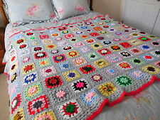 "Vintage Crochet GRANNY SQUARE Gray THROW Bedspread BLANKET 52x72"" Farmhouse Chic"