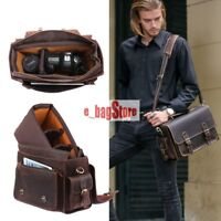 Men's Real Leather Camera Case Messenger Shoulder Bag Tote for DSLR Canon Nikon