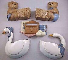 5 Vintage Burwood Homco Geese 2814 Bears 2947 Recipe Box 3241 Wall Hangings