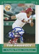 Charlie Tilson St. Louis Cardinals 2014 Florida State League Signed Card