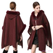 Womens Fur Cashmere Blend Poncho Coat Jacket Cape Loose Shawl Hooded 2019 Zsell