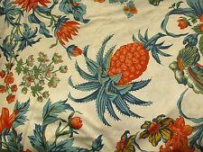 "Vtg Schumacher Williamsburg Pineapple Poppy Chintz Floral Drapes Fabric 66""x 6yd"