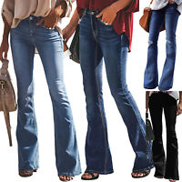 Women Skinny Slim Fit Flare Denim Stretch Bow- Kont Jean Wide Leg Pants Trousers
