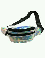 Vintage Fanny Pack 80s Stranger Things Style Iridescent Silver movie arcade bag