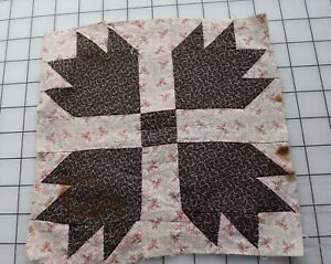 9306 1 antique 1880's Bear Paw quilt block, choc brown and pink roses