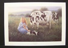 """Robert Duncan Limited Edition Signed Print """"The First Morning"""" Cow Calf"""