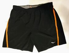 Saucony Men's Running Shorts Black X-Large Orange Accent, Lined EUC!