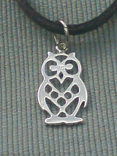 "STERLING SILVER PRETTY FILIGREE 25mm OWL PENDANT & 18""GREY SUEDE THONG £8.50 NWT"