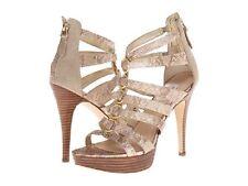 GUESS Kesaray Gold Nude Multi LL Platform Stiletto Open Toe Sandal 9.5 Beige New
