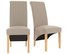 Premium Faux Leather and Linen Fabric Dining Chairs Roll Top Scroll Wood Cream 12