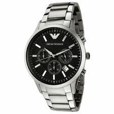 NEW EMPORIO ARMANI AR2434 Classic Chronograph Black Dial Steel Men's Wrist Watch