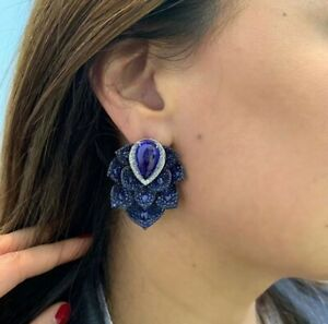 Amazing Flower Art Deco Dark Blue Pave Set 5.5CT Sapphire With White CZ Earrings