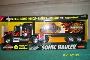 "Buddy L Harley Davidson Sonic Hauler Voice Light Sounds 1992 MIB 21 1/2"" Long"
