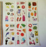 6er Set Sommer Urlaub Aufkleber halbtransparent matt Sticker