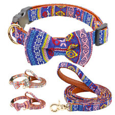 Dog Collar Leather Medium Small Large Dogs with Bow Tie & Matched Leash Set Pink