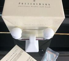 Pottery Barn Americana Double Wall Hook With Polished Chrome Finish W/ White NEW