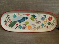 Potter's Studio Ceramic Oval Serving Tray - Bird And Flowers