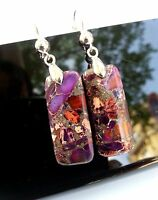 Boucles d'Oreilles Jaspe Violet Impérial Sédimentaire Bijoux en Pierre Naturel