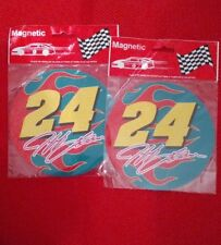 "JEFF GORDON #24 MAGNETIC STICKER 5.25"" ROUND NEW RED/BLUE/YELLOW WITH SIGNATURE"