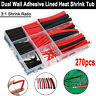 270Pcs Heat Shrink Wire Cable Tubing Tube Dual Wall Adhesive Lined Ratio 3:1