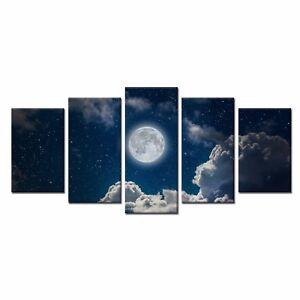 5pcs Canvas Print White Moon Photo Canvas Poster Home Wall Art Decor-No Frame