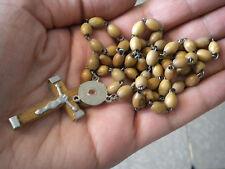 Rasary Beads Wood Vintage smooth Rosaries Religious Relic Terra Saint