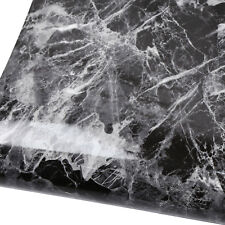 Black Marble Contact Paper Glossy Wallpaper Countertop Shelf Liner - 3 Sheets