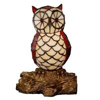 10in Cute Owl Tiffany Style Table Lamp Stained Glass Night Light For Bedroom