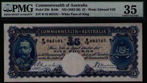 Commonwealth of Australia ND1933 £5 KEVIII PMG Certified VF35 R44b Pick# 23b