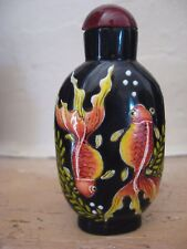 TABATIERE CHINOISE signée - 18°S. DYNASTIE QING - SNUFF BOTTLE aux Goldfish
