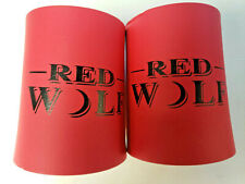 Vintage Pair of Red Wolf Beer Can Koozies Koolie Foam Holder Brand New