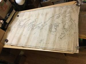 """VINTAGE Orig. 1911 GEO W ELDRIDGE'S Chart F - KENNEBEC RIVER to DEER ISLE 32X53"""""""