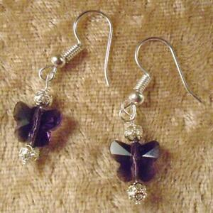 Purple Swarovski Crystal Pierced Earrings  W/ Silver Tone Hypo-allergenic Wire