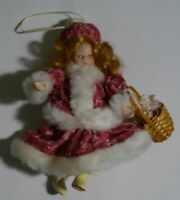 """Resin & Cloth Christmas Ornament Girl With a Basket Doll ~6"""""""