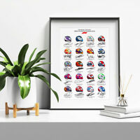 F1 FORMULA ONE 2020 DRIVERS TEAMS HELMETS SIGNED PRINT POSTER LEWIS HAMILTON