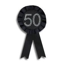 50th Black Birthday Badge Rosette NEW