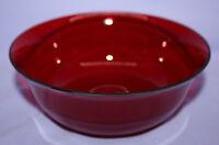"VTG Ruby Red Glass Bowl ~ Rounded Non-Flat Bottom ~ Flared Edge ~ 6-1/4"""