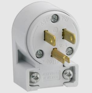LEVITON White PVC 5-15P Polarized ANGLE PLUG 15 Amp 125 Volt 020-515AN-00W