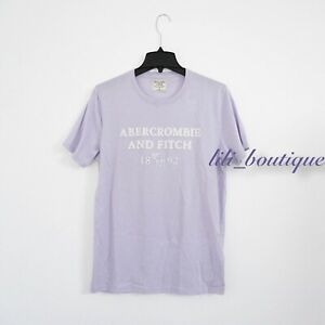 NWT New Abercrombie & Fitch Men Graphic Logo Short Sleeve T-Shirt Lilac White M