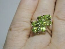 Gorgeous Sterling Silver & Peridot Cluster Ring Size T