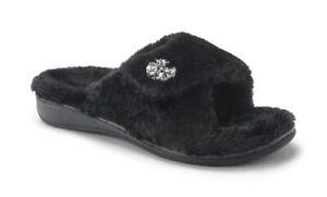 Vionic Women's Relax Lux Slide Slipper Black Rhinestone Hook Loop Adult Size 8