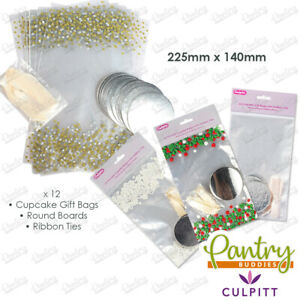 Culpitt - Pattern / Clear Cello Cupcake Gift Bags, Board & Ribbon Ties - 12 Pack