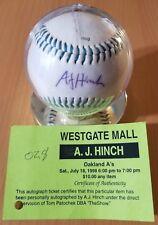 AJ Hinch autographed baseball w/ COA Houston Astros Manager Oakland A's MLB 1998