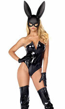 Forplay Women's Breathtaking Bunny V Wire Vinyl Bodysuit Mask and Gloves. M/L