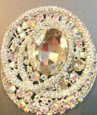 Clear and Iridescent Rhinestone Brooch also Necklace Drop Round Red Hat Rodeo