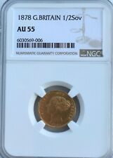 More details for 1878 gold half sovereign victoria ngc au55 die #24