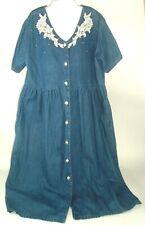 VTG Dress Womens Denim L Button Front Floral Lace Embellished Boho western artsy