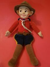 """1930's Cloth Doll by Norah Wellings Canadian Mounted Policeman 9"""" England"""