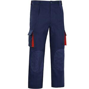 Mens Multi Pocket Cargo Work Trousers Half Elasticised Waist Workwear Pants